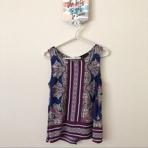 Cynthia Rowley Blue Pink Paisley Sleeveless Blouse